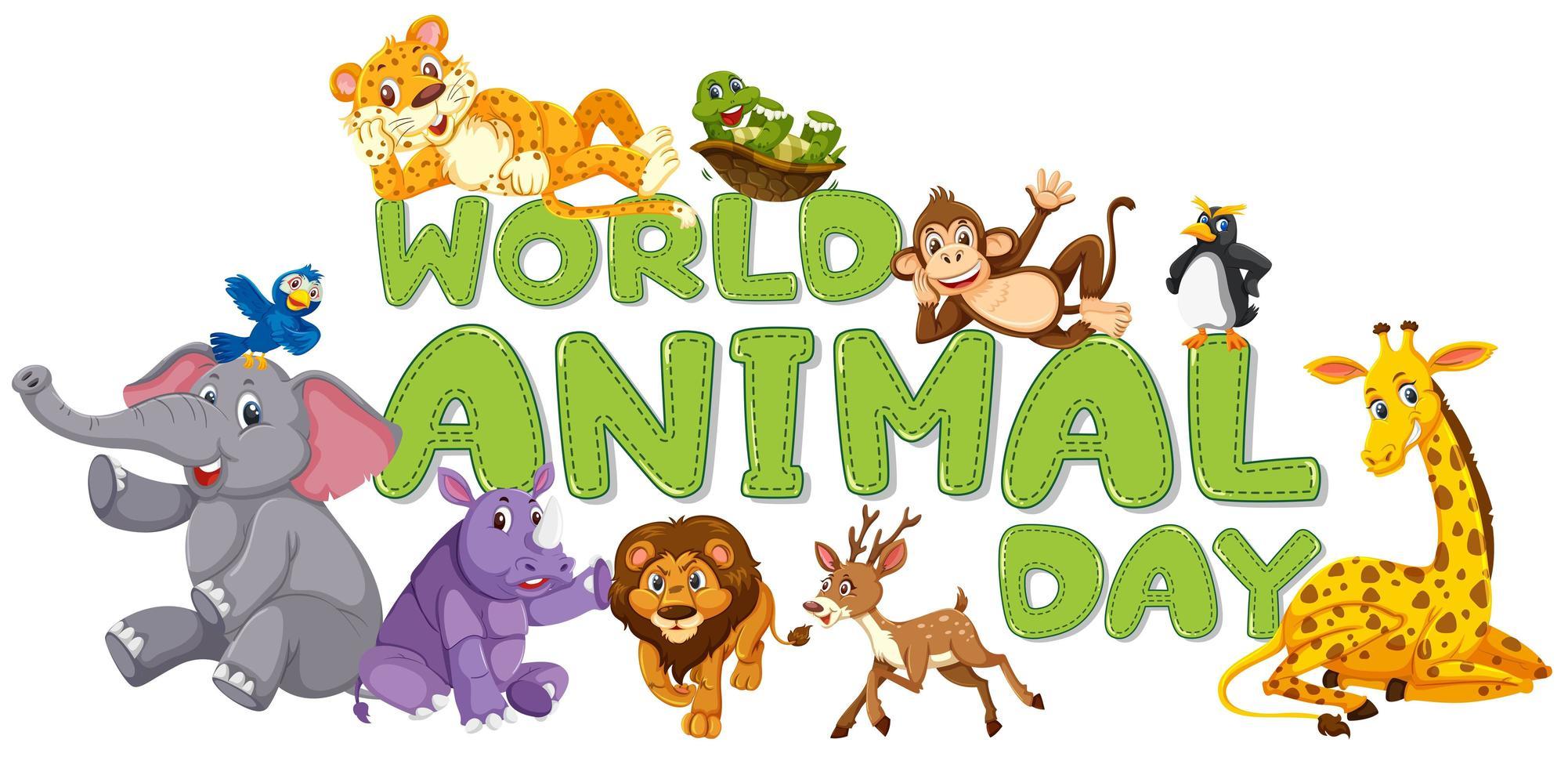 Modelo de dia mundial do animal vetor