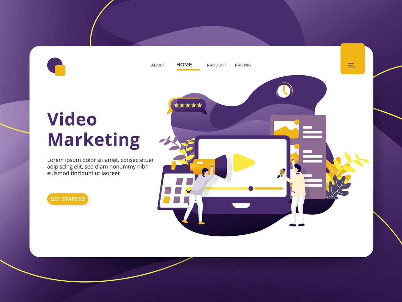 Página de destino Vídeo Marketing vetor