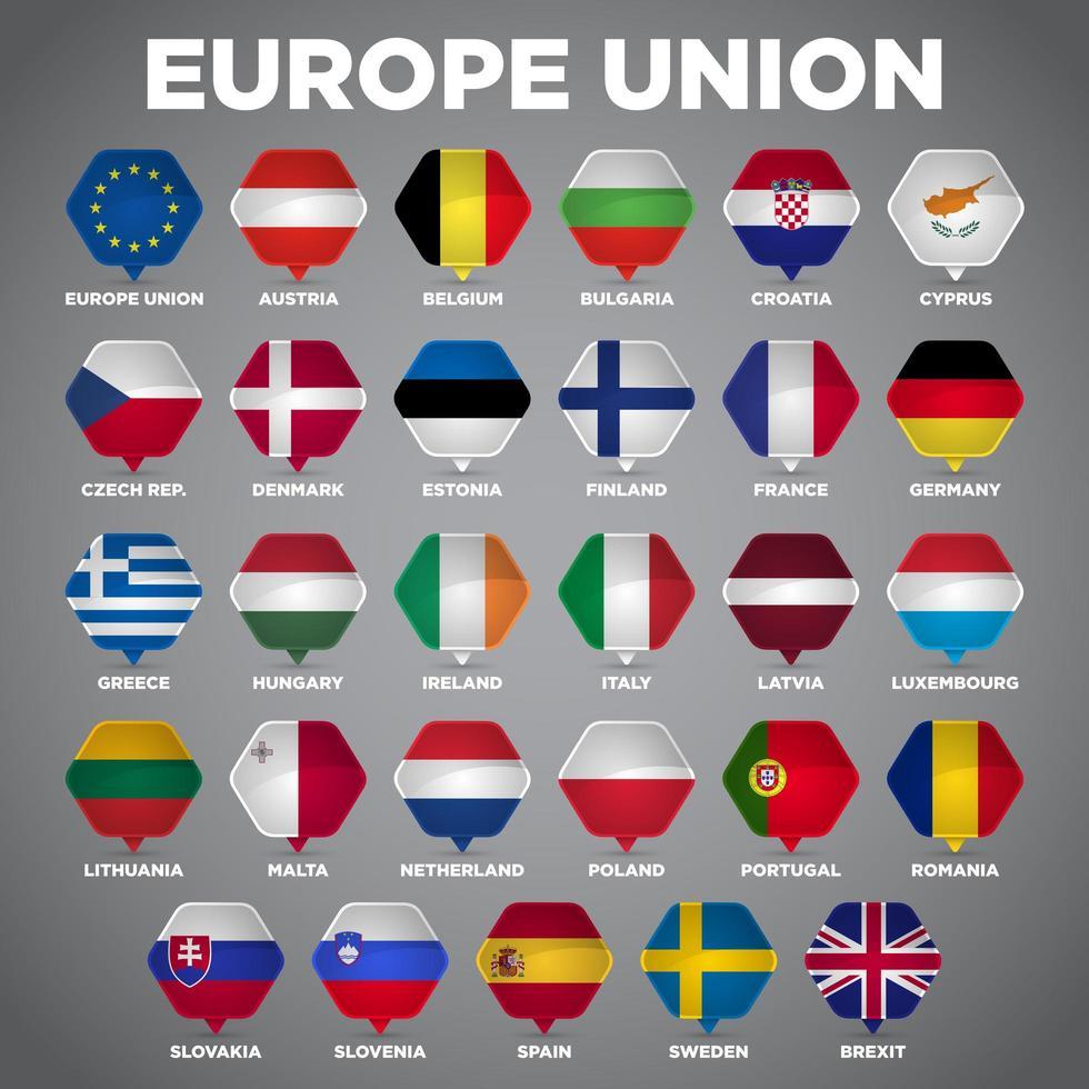 Bandeiras da nação do ponto do Pin da união de Europa vetor