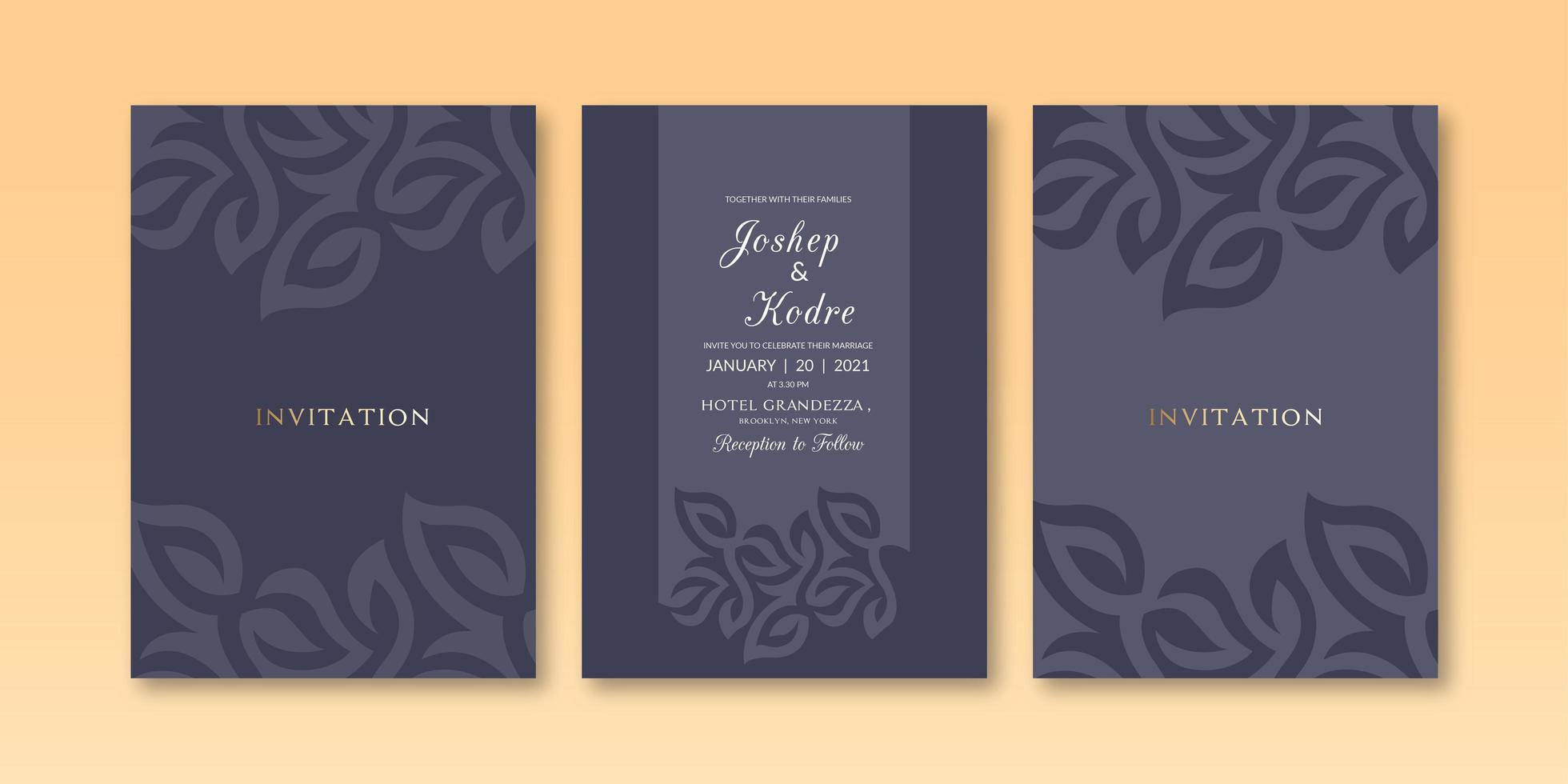 Modelo de convite de cor escura textura floral minimalista vetor