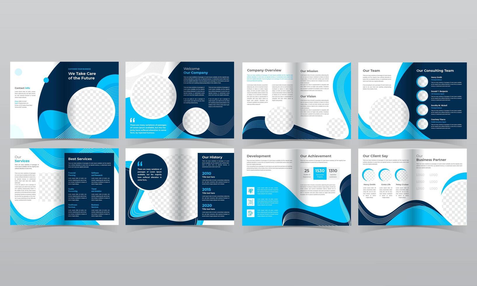 Modelo de folheto de negócios de 16 páginas com formas fluidas azuis vetor