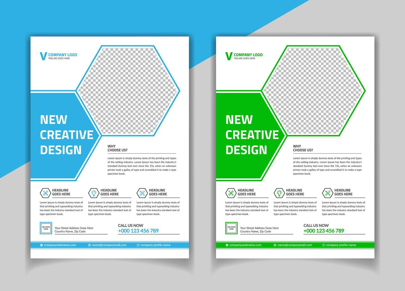 Modelo de folheto - forma de hexágono verde e azul vetor