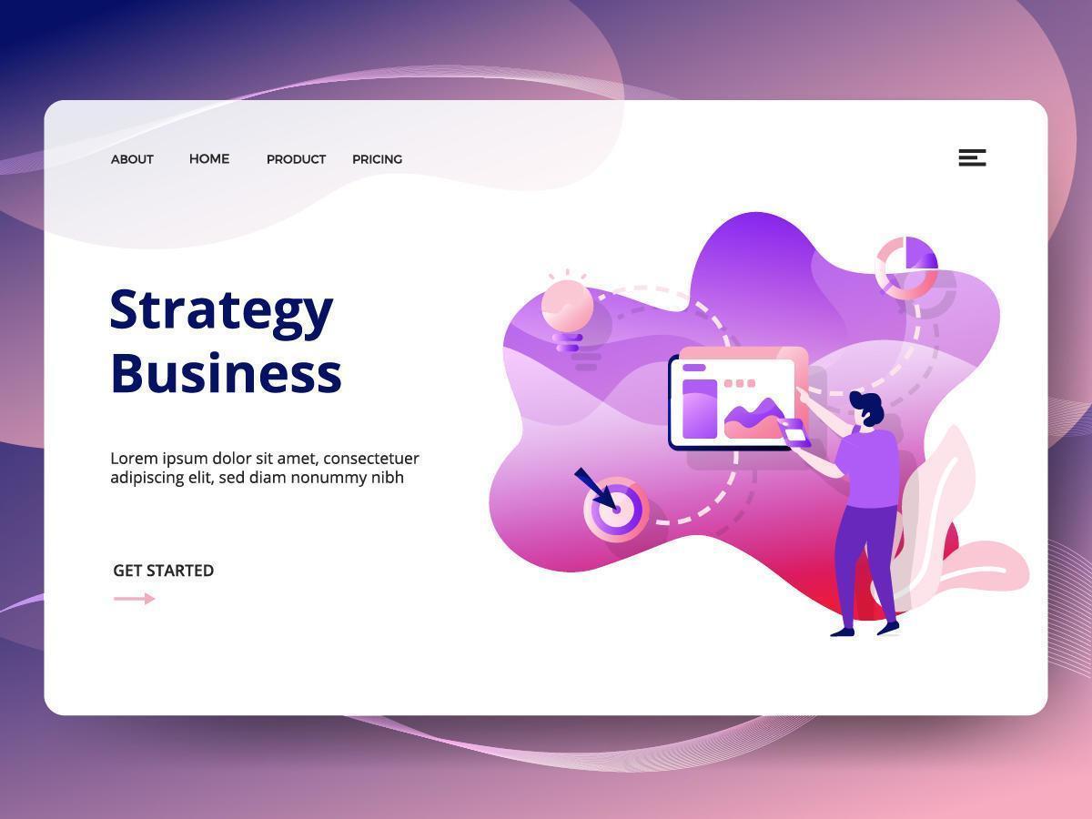 Modelo de site de negócios de estratégia vetor