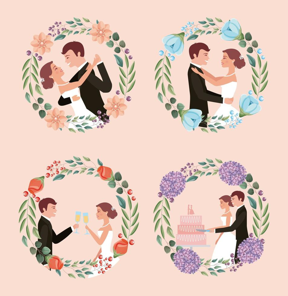 cartão de casamento casal vetor