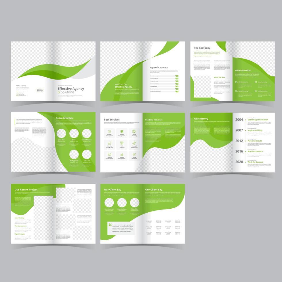 modelo de folheto de negócios moderno estilo verde vetor