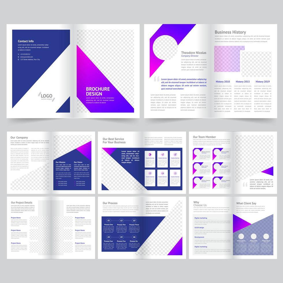 Modelo de brochura - negócio de 16 páginas em roxo vetor