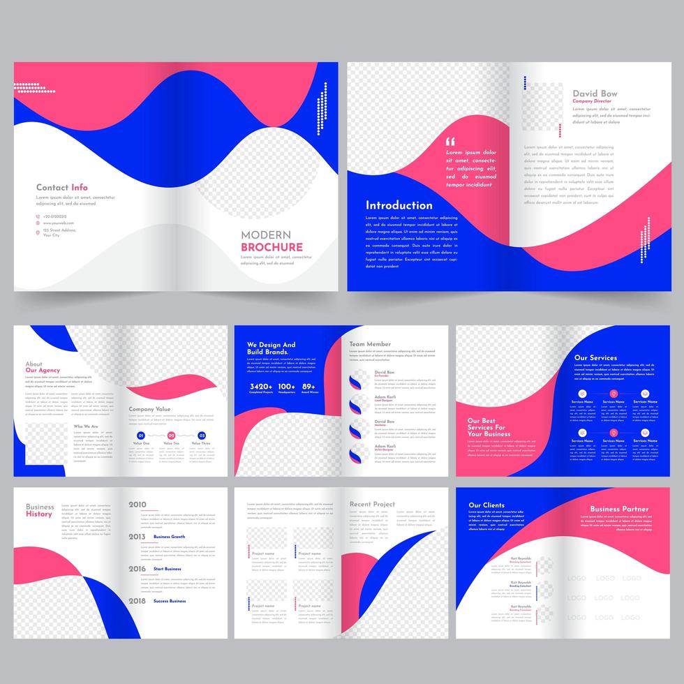 Modelo de Brochura - perfil da empresa de design arredondado vetor