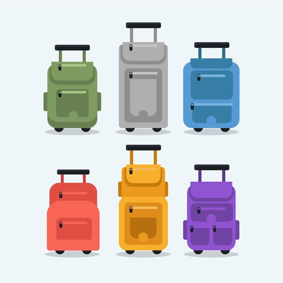 Vários ícones de mala de viagem em design plano vetor