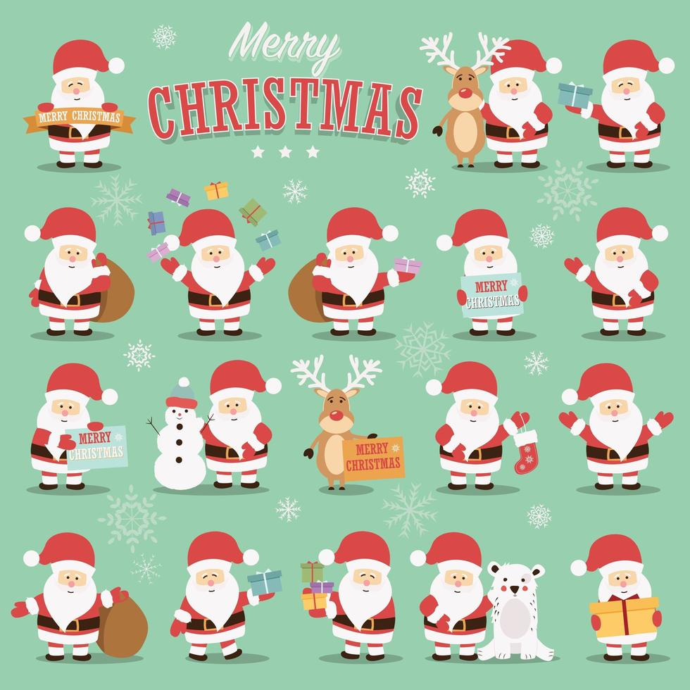Coleção de personagens fofinhos de Papai Noel com renas, urso, boneco de neve e presentes vetor