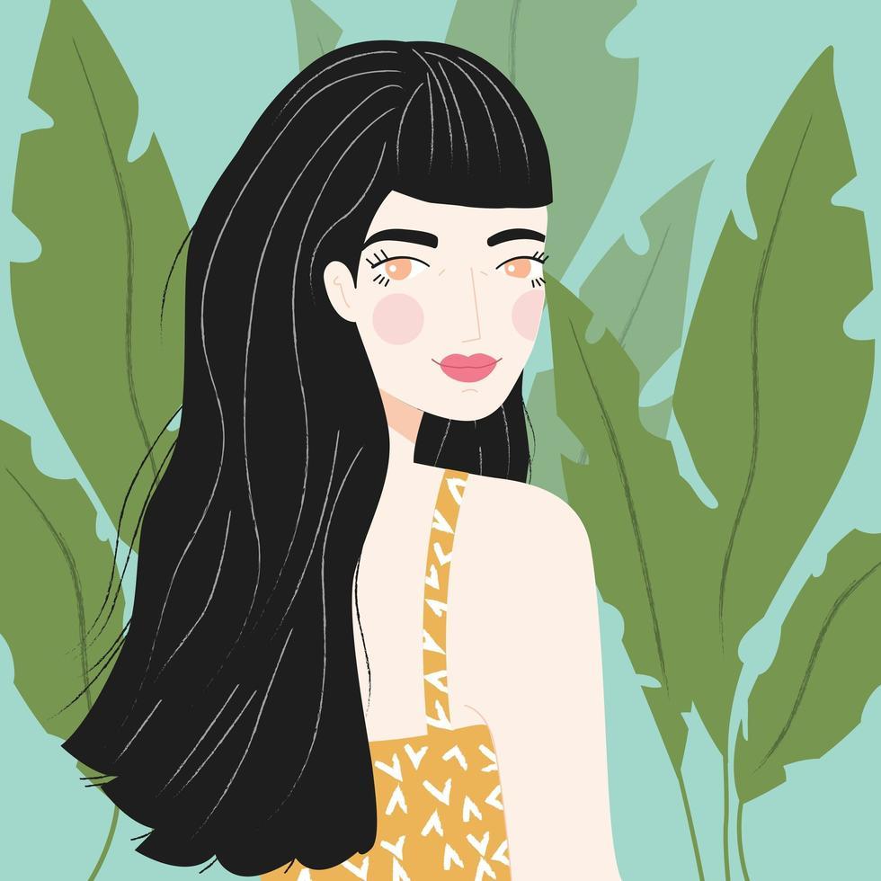 Retrato de uma menina com longos cabelos negros vetor