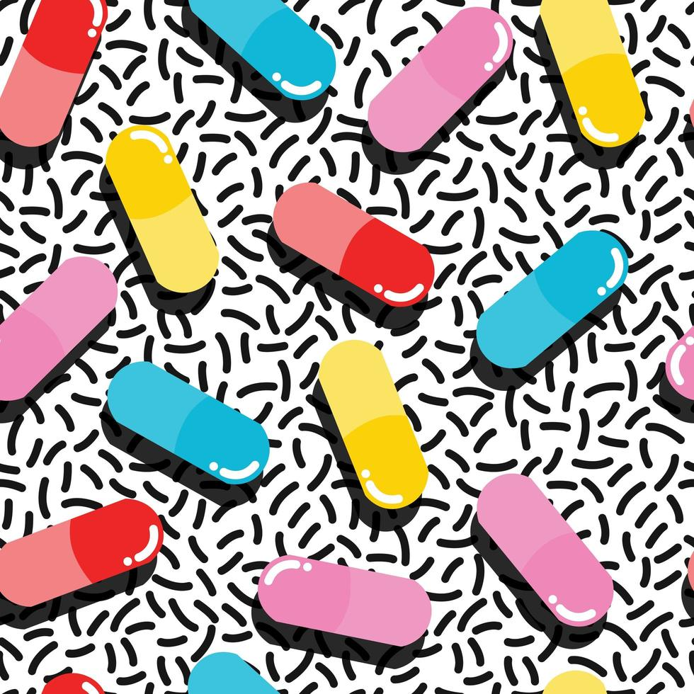 Padrão sem emenda de comprimidos e cápsulas vetor