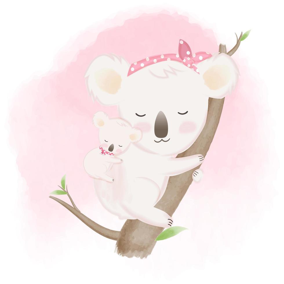 bebê coala e mãe mão ilustrações desenhadas vetor