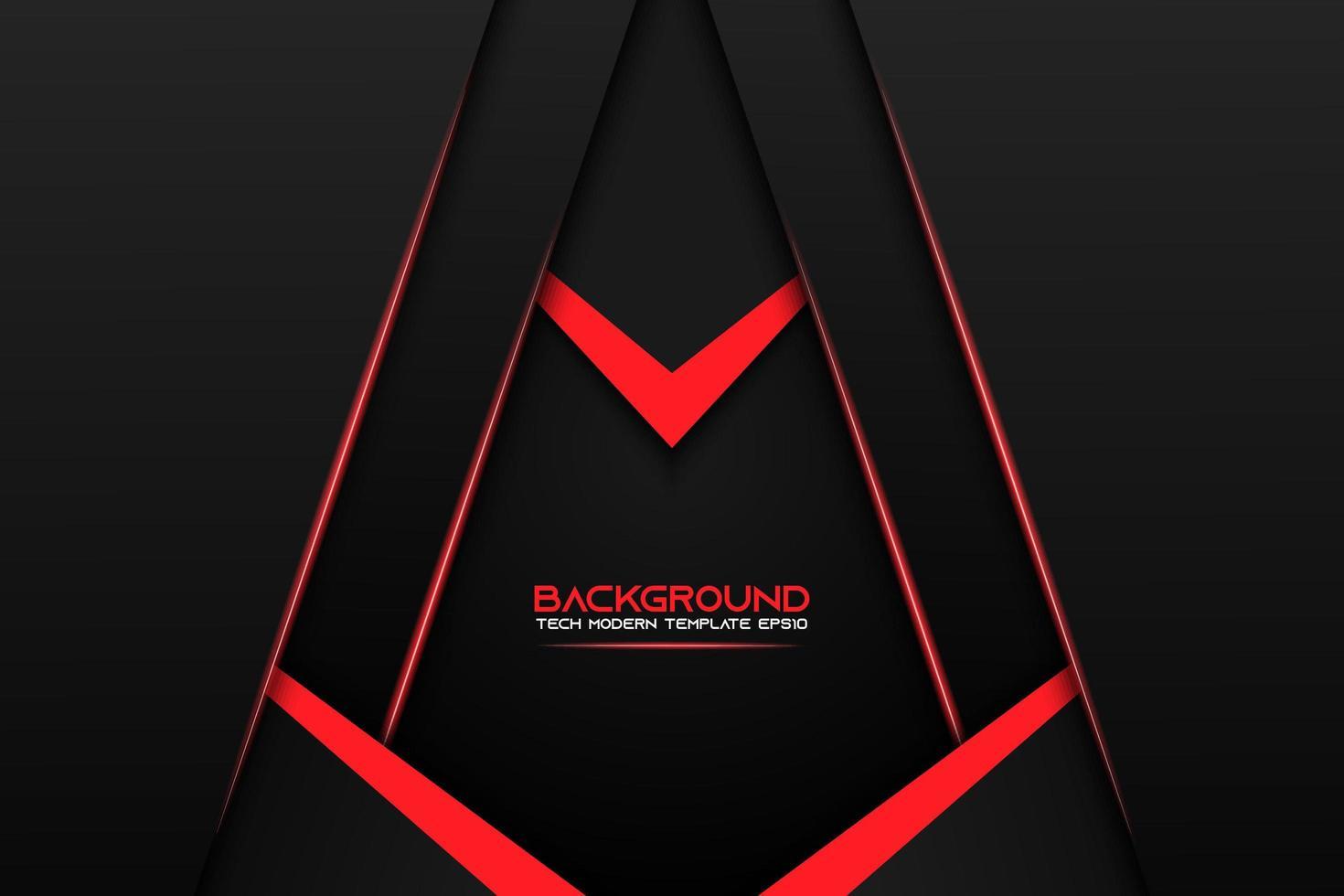 fundo preto ângulo em camadas com detalhes vermelhos vetor