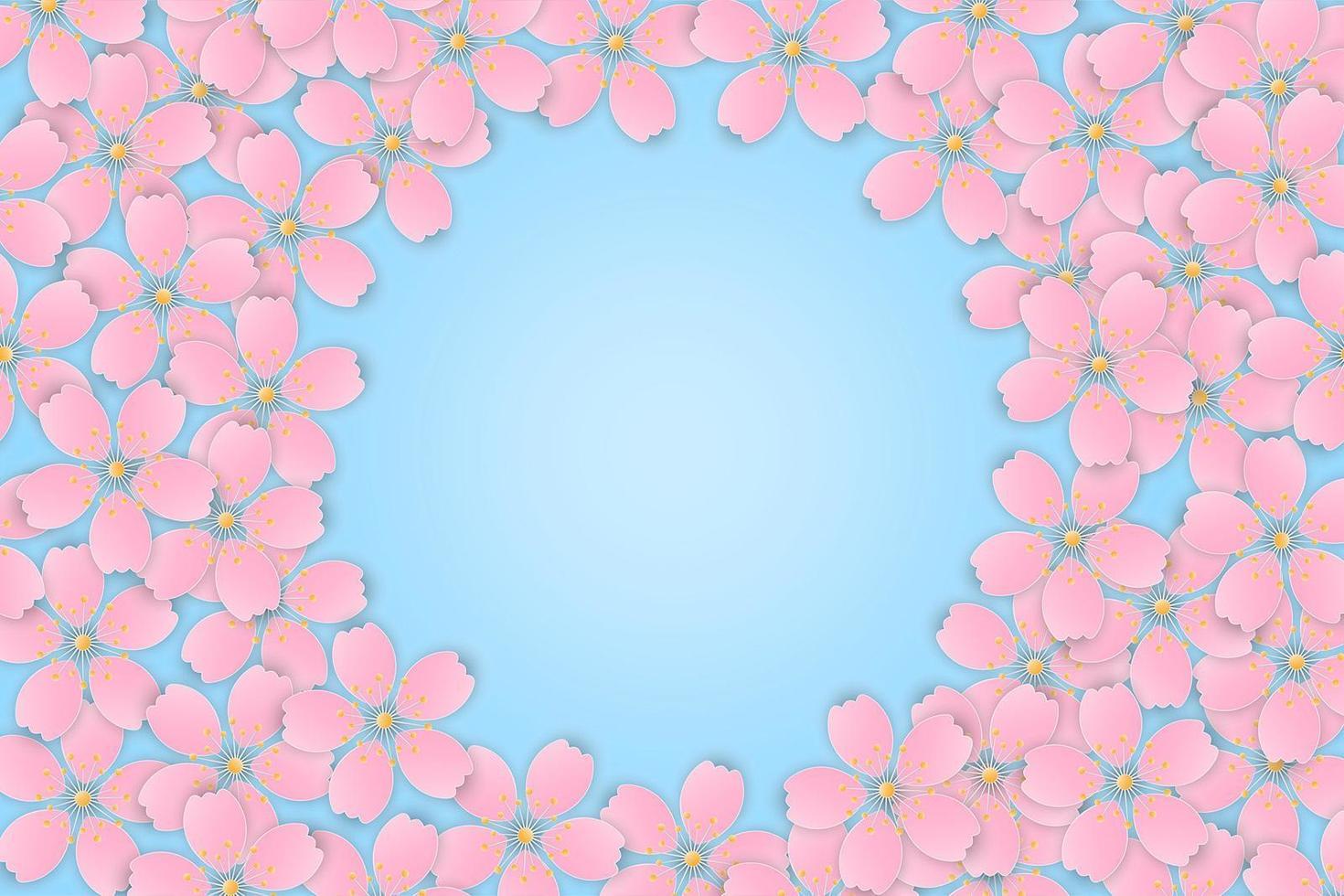 moldura de flor de cerejeira rosa sakura vetor
