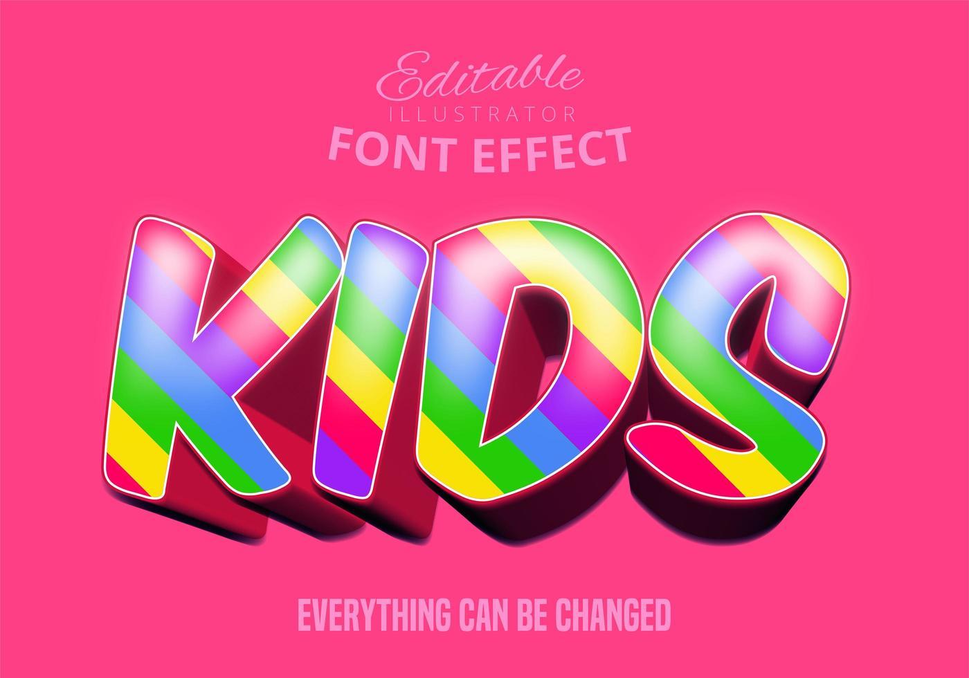 efeito de fonte editável de arco-íris de crianças vetor