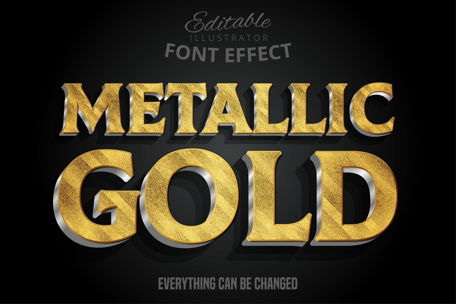 fonte 3d metálica ouro vetor