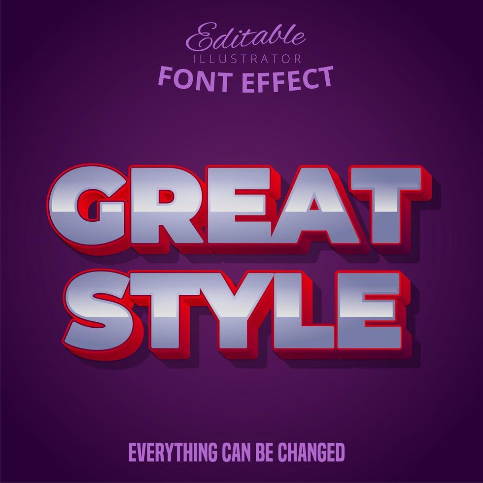 texto de grande estilo, efeito de fonte editável vetor