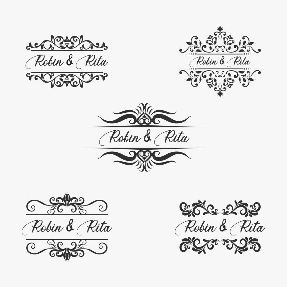 conjunto de fronteira de nome de convite de casamento vetor