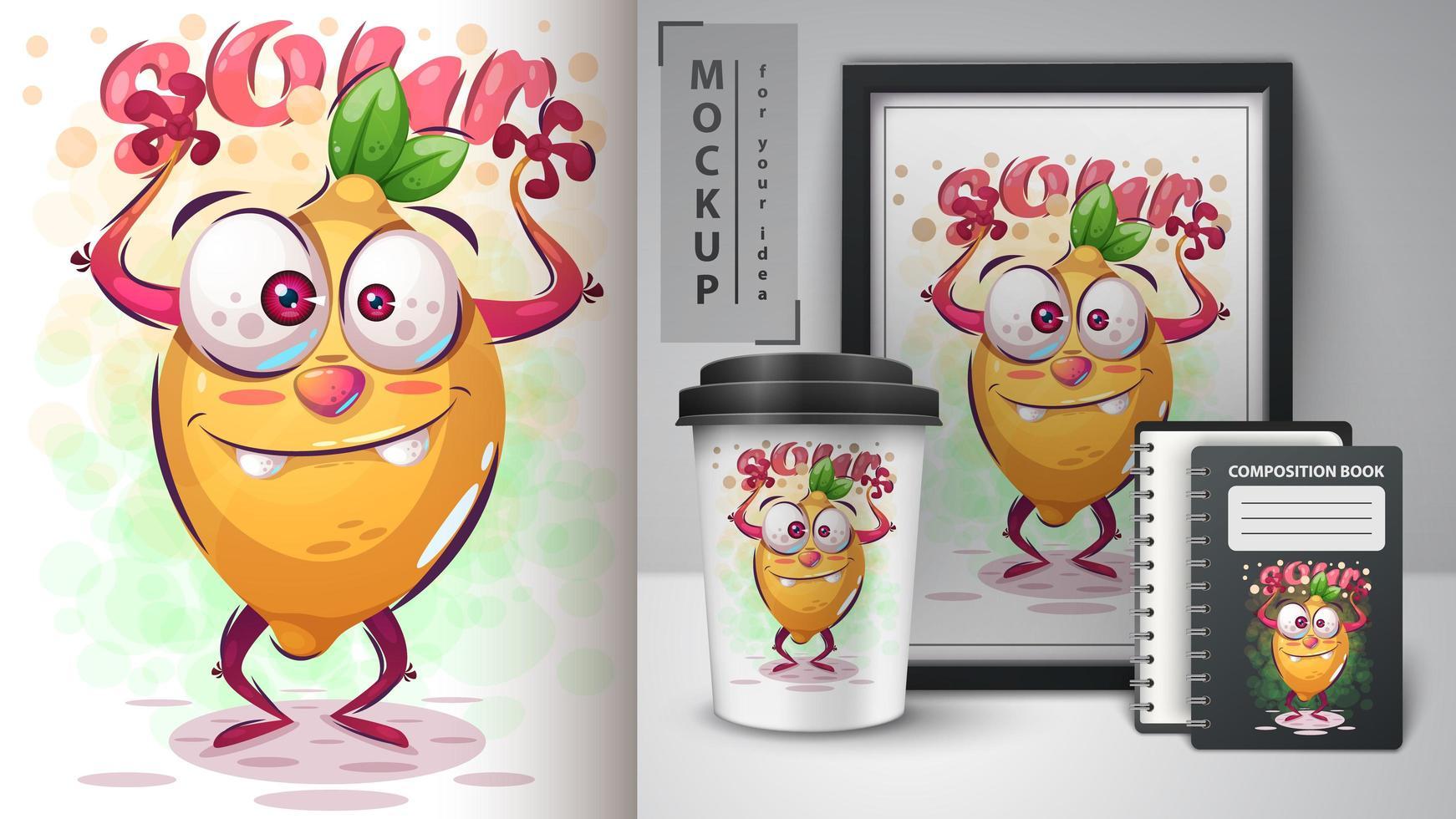 cartaz e merchandising de limão louco vetor