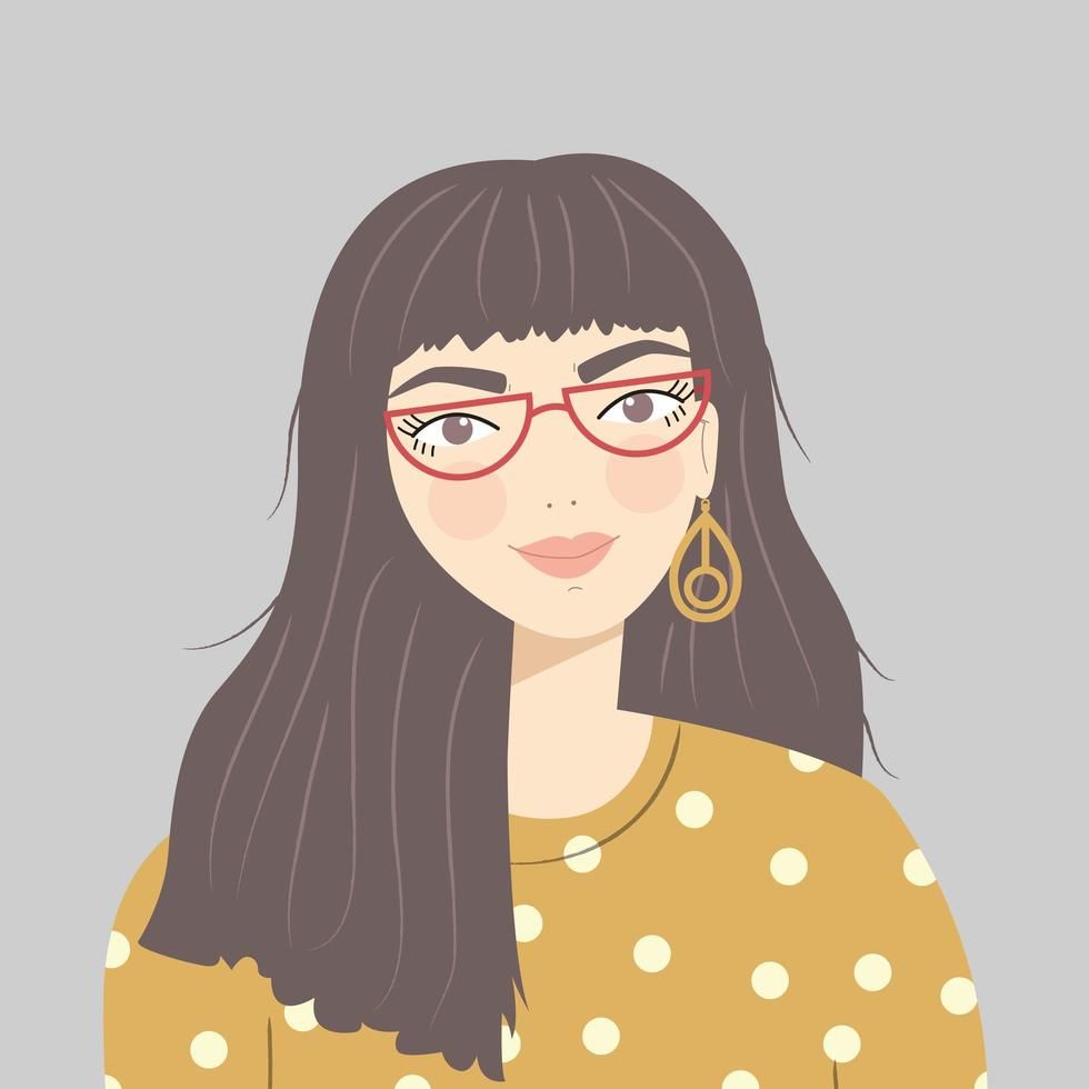 retrato de menina com cabelos castanhos compridos, óculos vermelho vetor