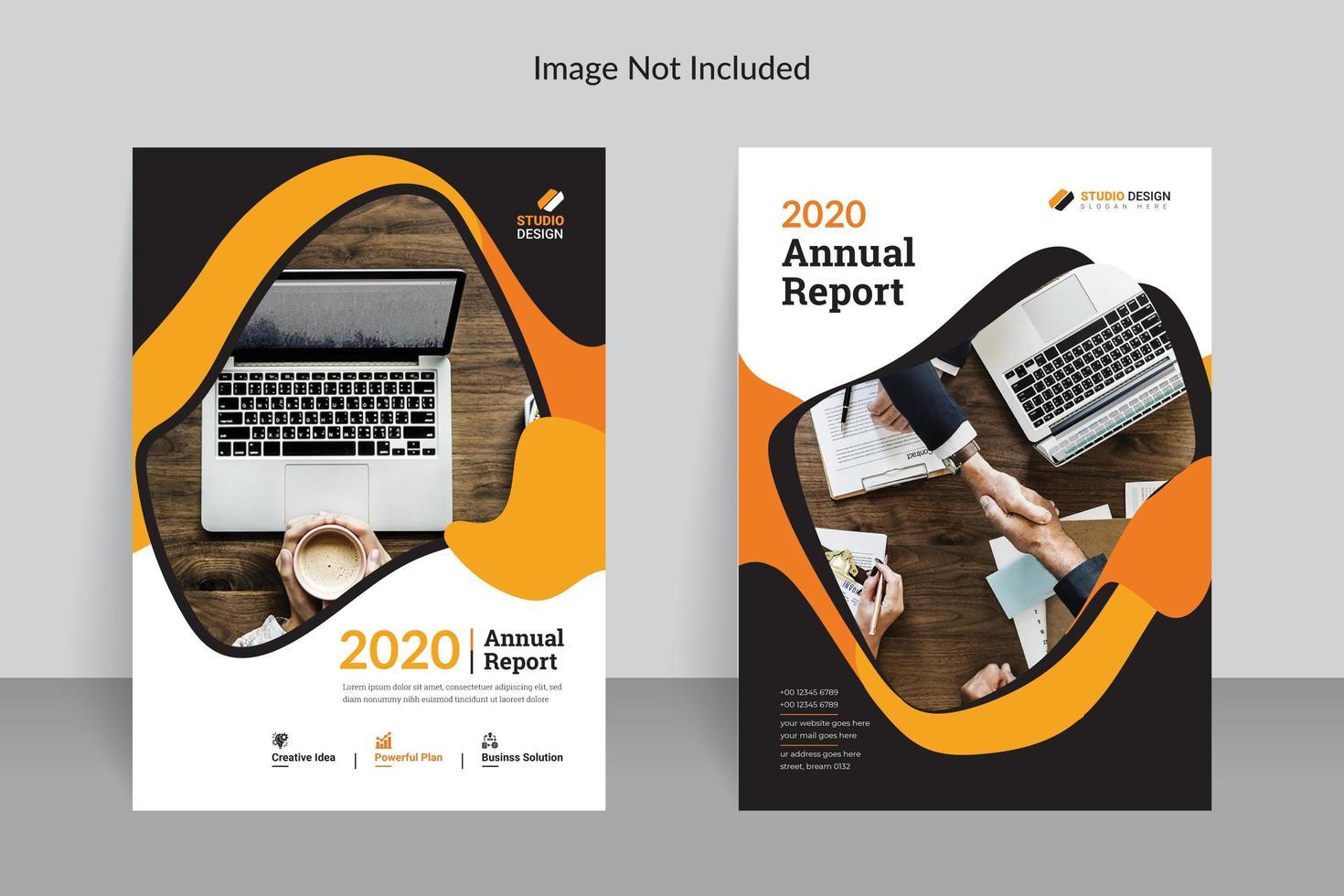 relatório anual de negócios modelo design cor laranja vetor