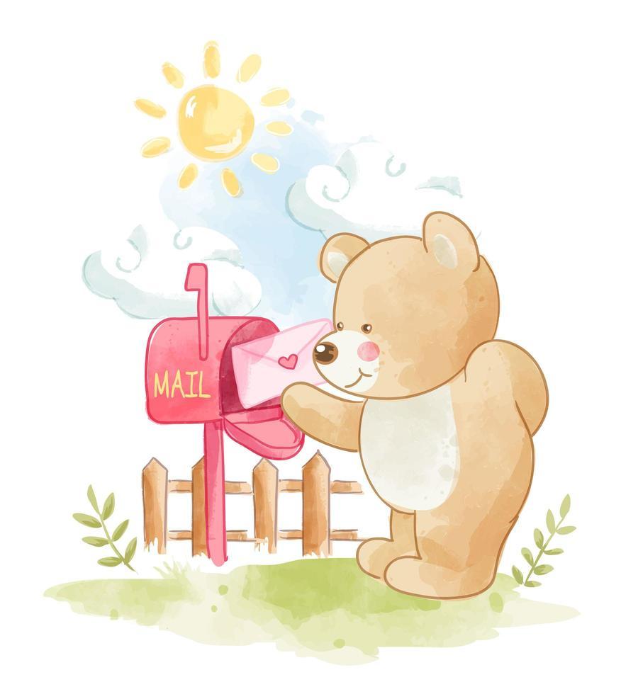 urso de desenho animado, colocando a carta de amor na caixa de correio vetor