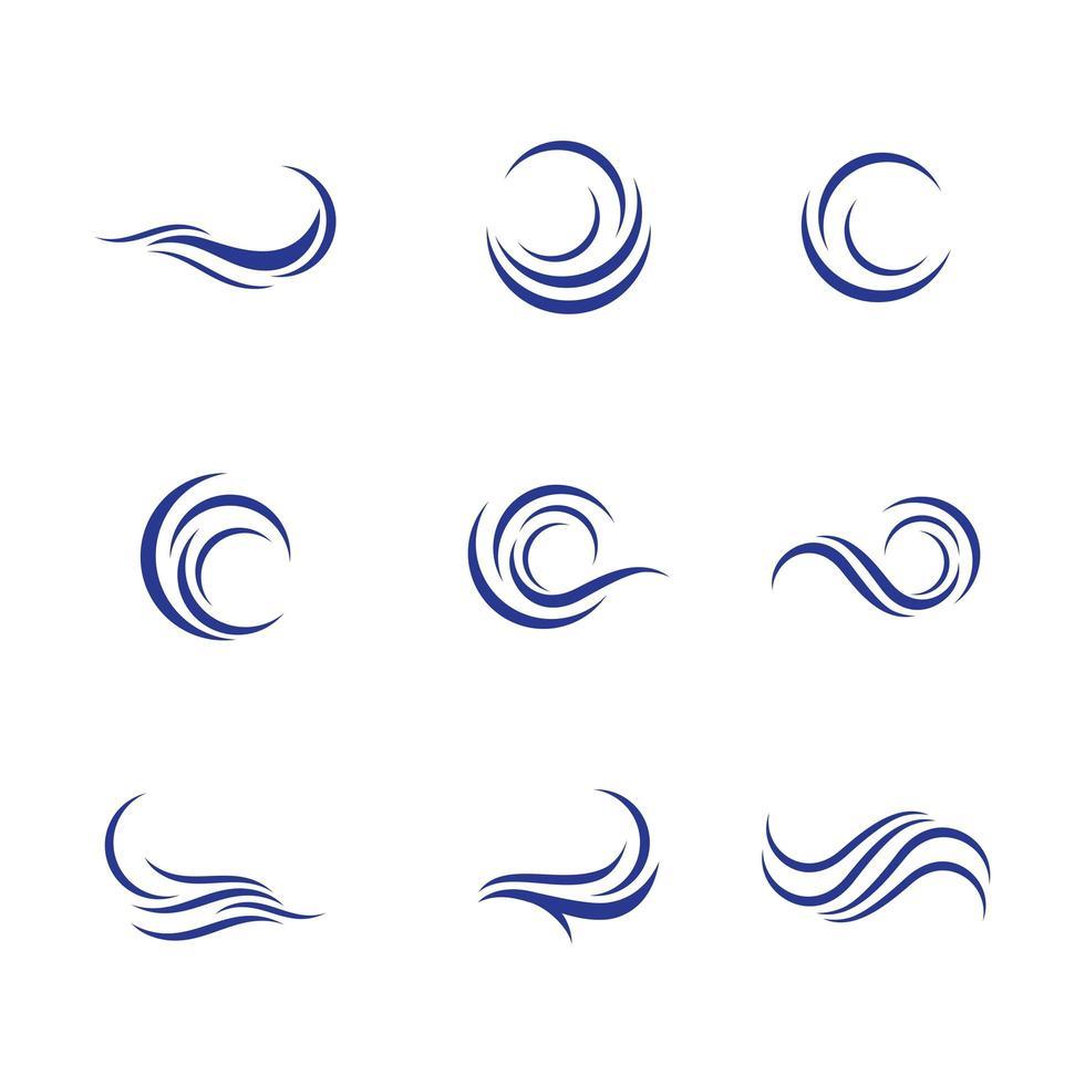 conjunto de ícones de água em azul escuro vetor