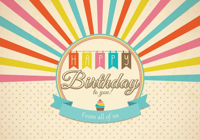 Vetor retro do cartão do feliz aniversario