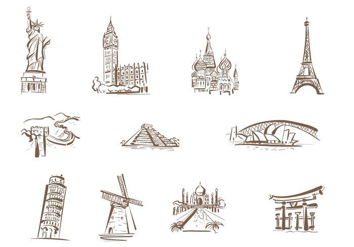 Desenhados Vetores de Marcos famosos