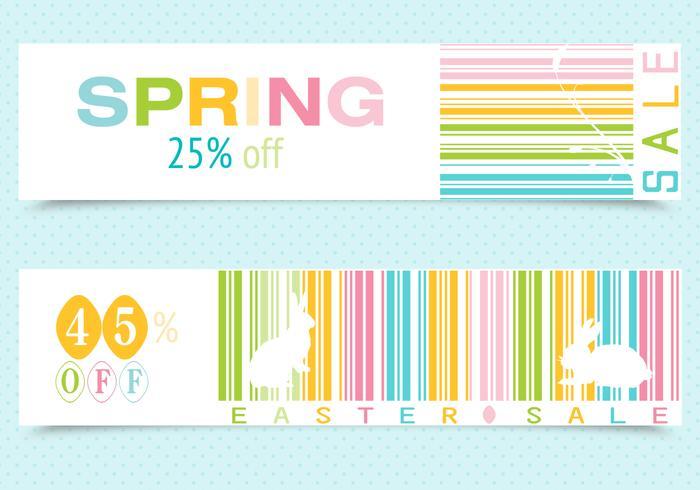 Vetores de banner de código de barras da primavera Easter