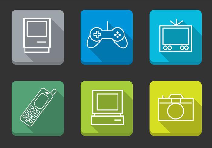 Pacote vetorial ilustrado de ícones multimídia vetor