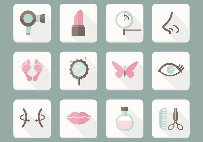Conjunto de vetores de ícones de cuidados de beleza planos