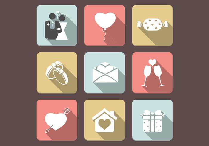 Conjunto de ícones de ícones de amor plano vetor