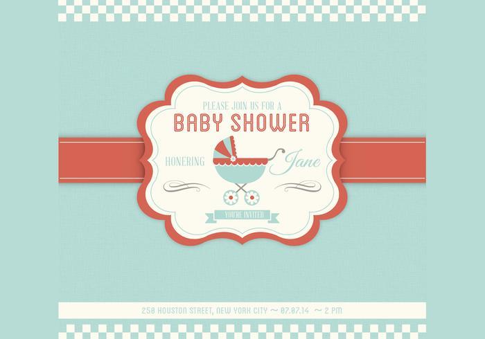 Molde do convite do vetor do chuveiro do bebê
