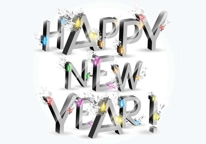 3D Explosion New Year Vector Background