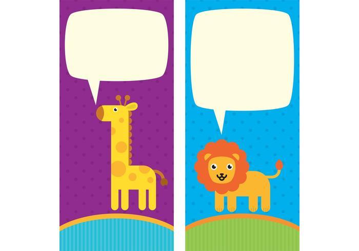 Cute Animal Vector Cartões