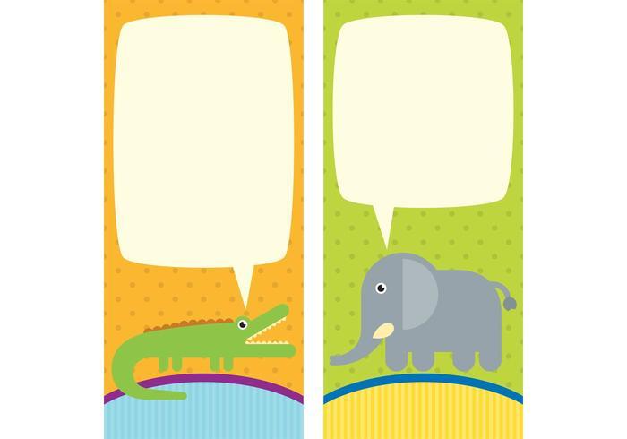 Cute Animals Vector Cartões