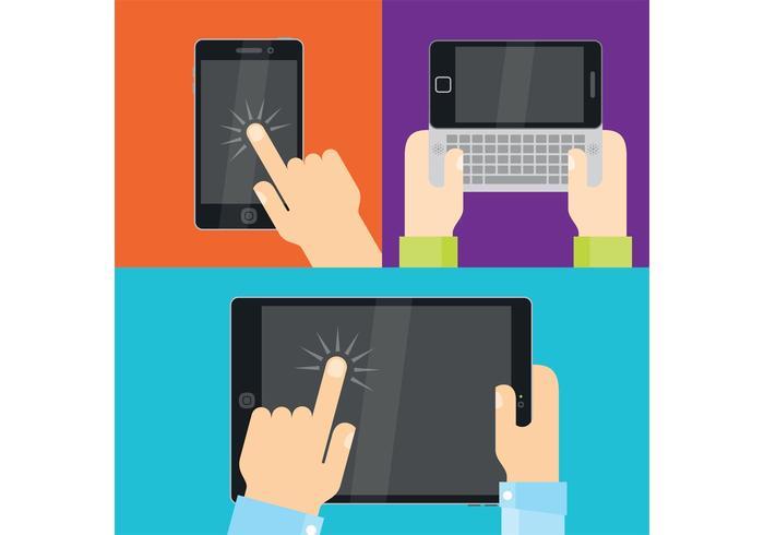 Vetores das mãos com dispositivos