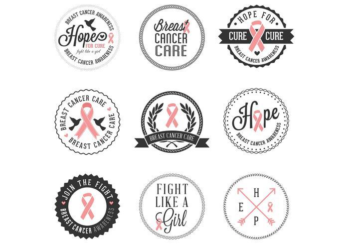 Emblemas gratuitos de consciência do câncer de mama vetor