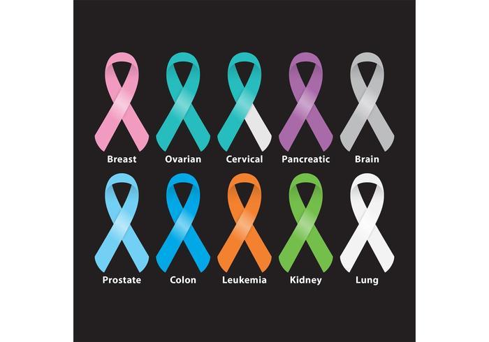 Vetores de fita de câncer brilhante