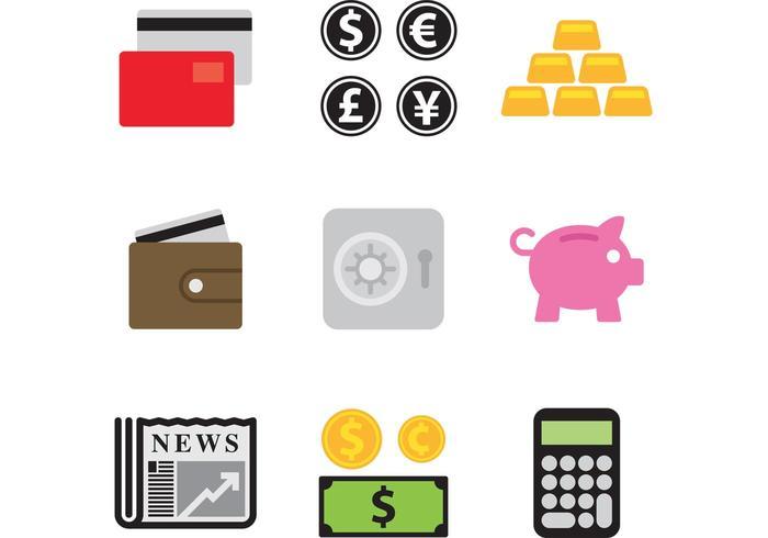 Ícones do vetor de dinheiro