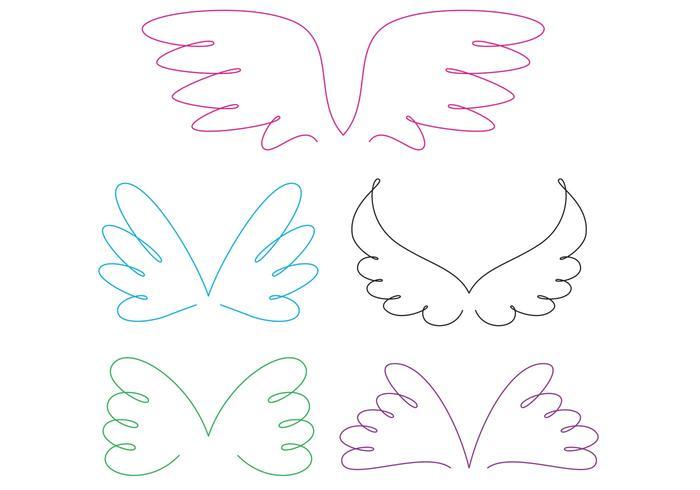 Vetores de asa de anjo encaracolado
