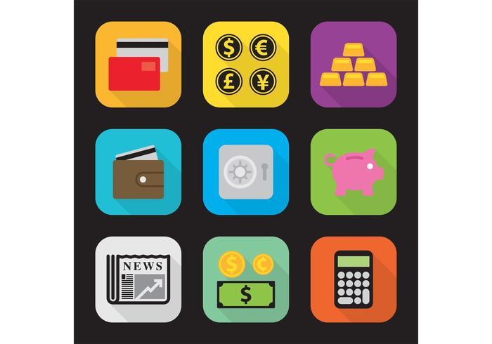 Ícones de vetor de dinheiro plano