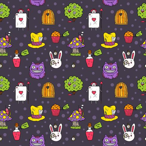 Vector livre Alice in Wonderland seamless pattern