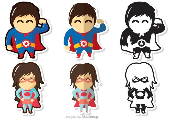 Pacote de vetores de crianças de super-heróis
