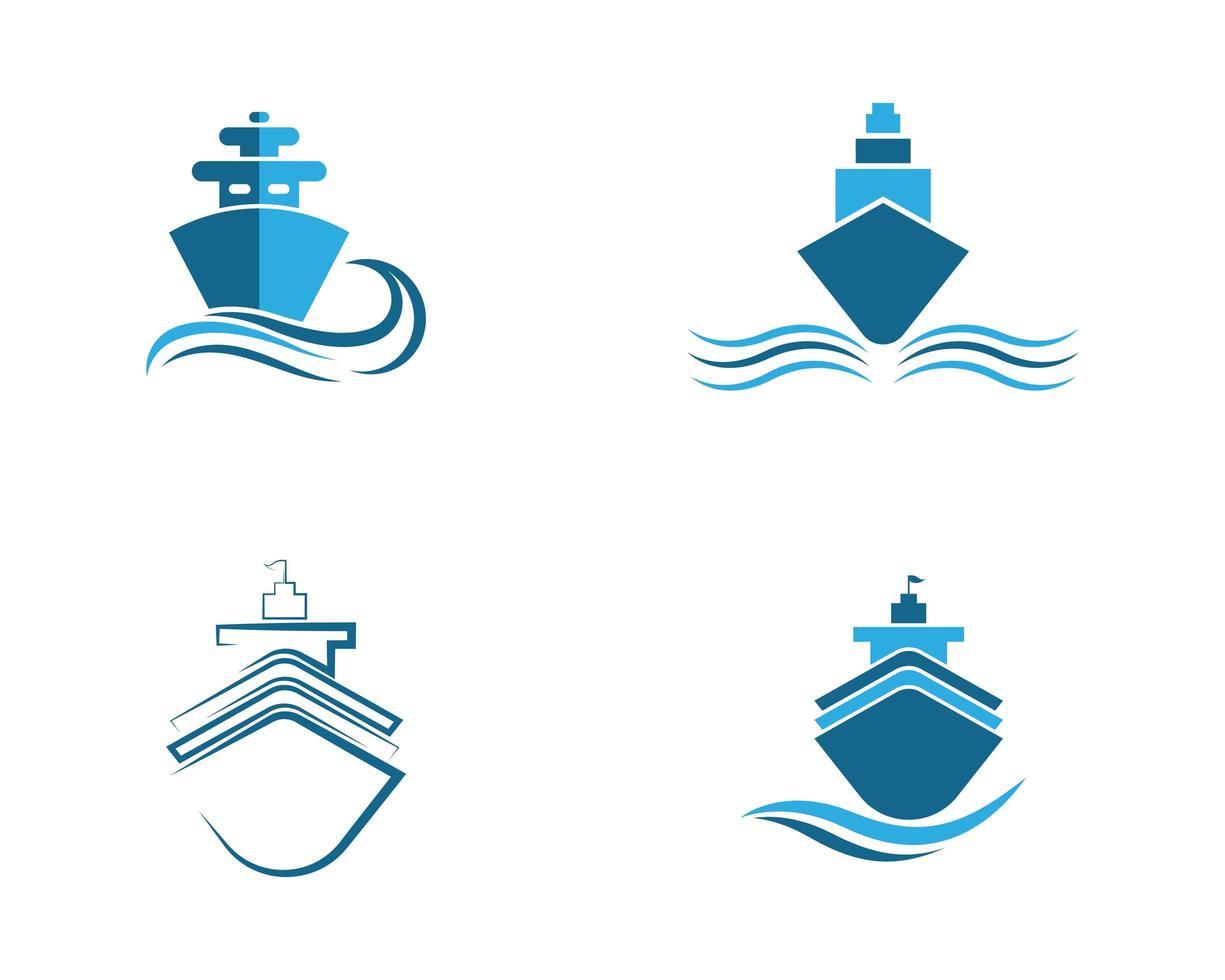 conjunto de símbolo de navio de cruzeiro vetor