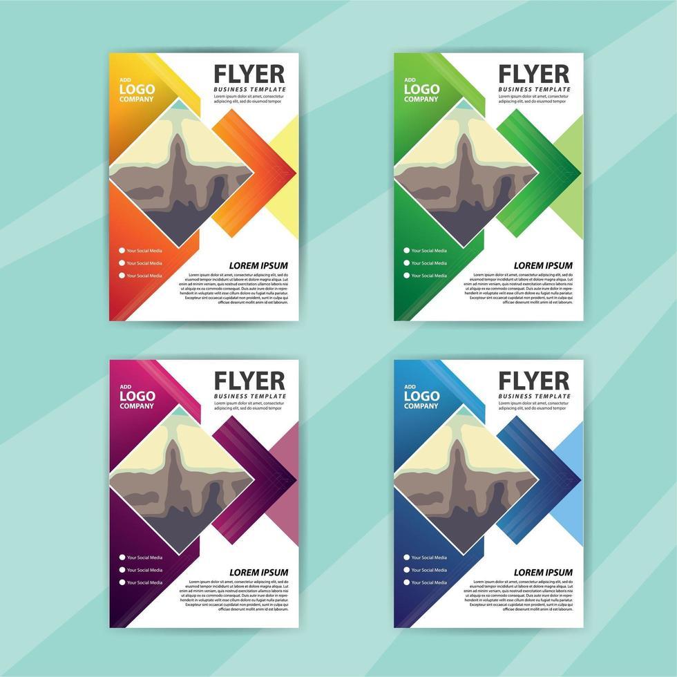 modelo de panfleto de negócios conjunto com design de diamante colorido vetor