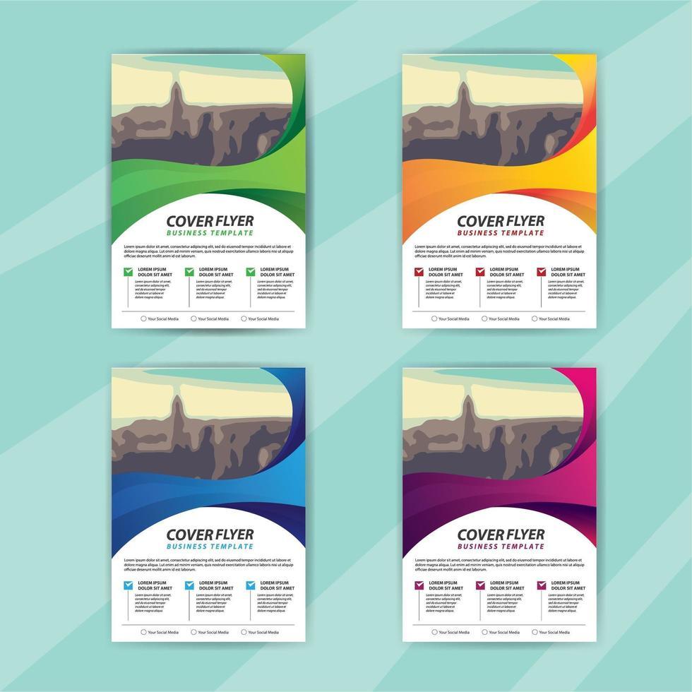 modelo de panfleto de negócios conjunto com design de redemoinho vetor
