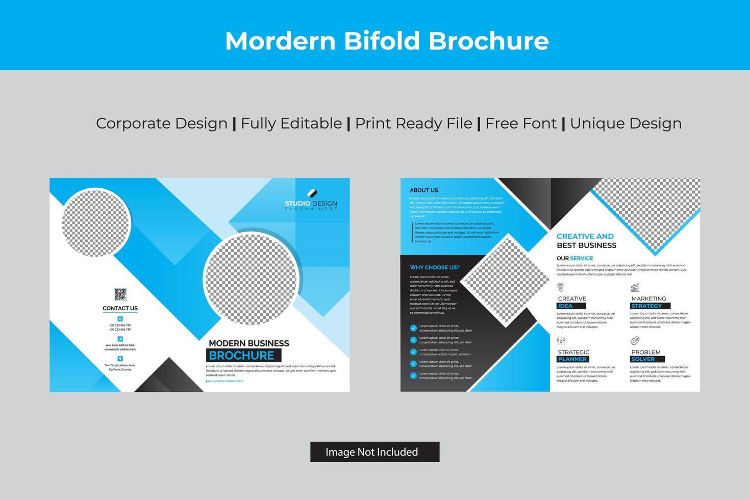 modelo bi-fold de negócios de design de ângulo ciano vetor