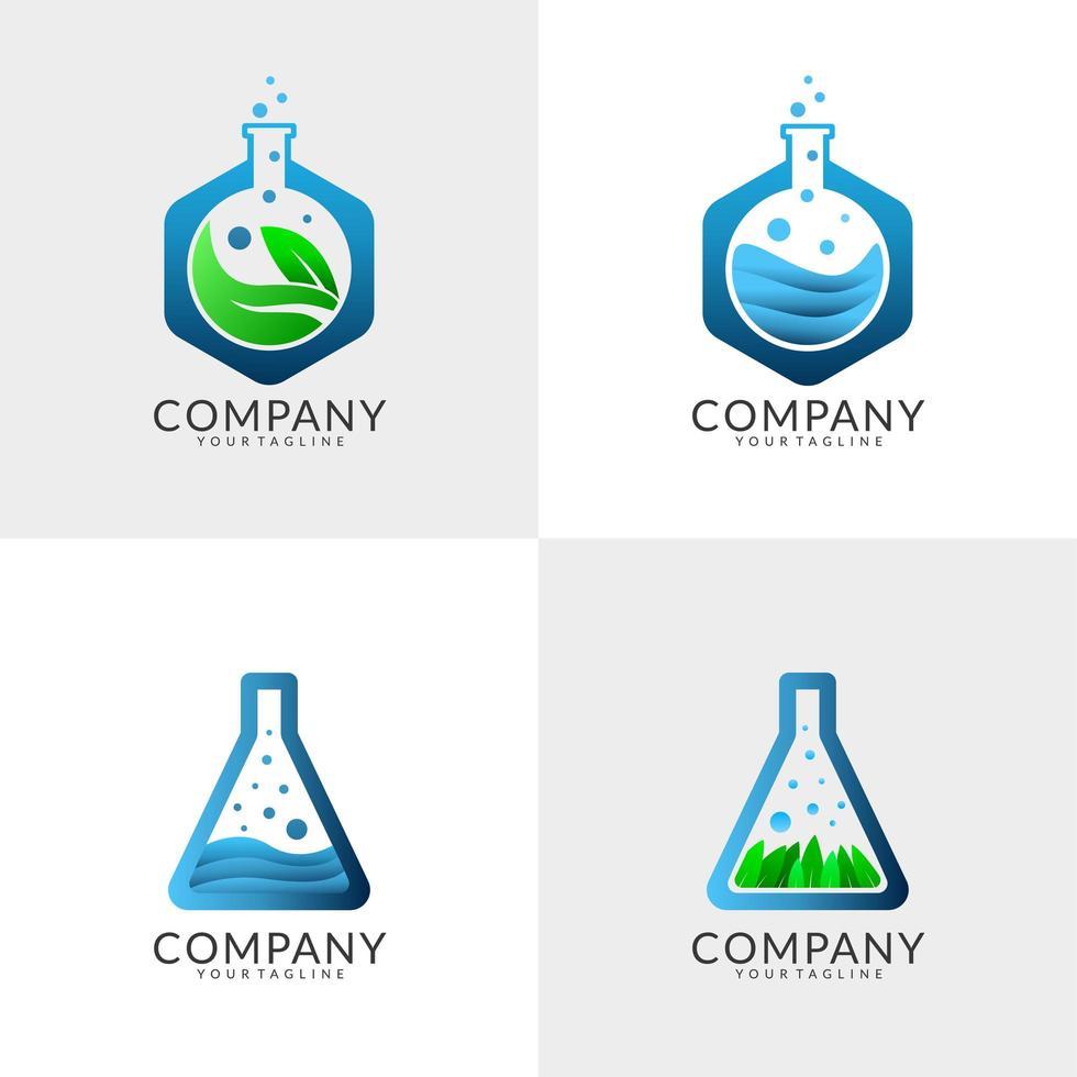 conjunto de design de logotipo de laboratório vetor